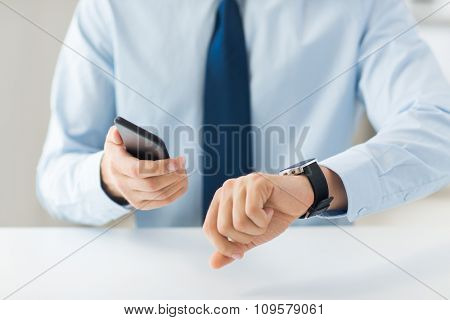 business, technology and people concept - close up of male hand holdingt smart phone and wearing watch at home