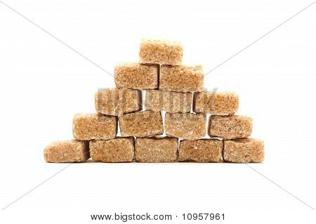 Brown Cane Sugar Isolated On White Background