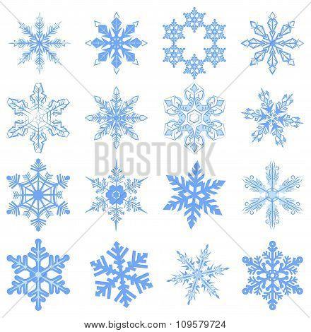 Big set Snowflake. Flake of snow