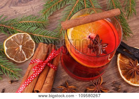 Mulled Wine For Christmas Or Winter Evening With Spices And Spruce Branches