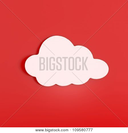 White Cloud Sticker Isolated On Red