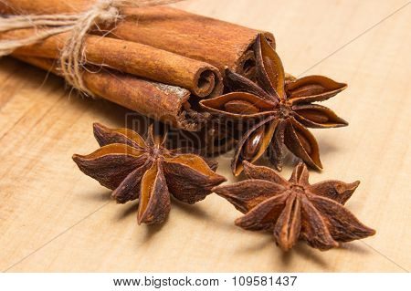 Cinnamon Sticks And Anise On Wooden Table, Seasoning For Cooking