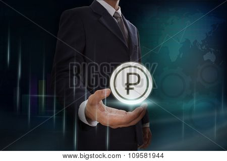Businessman showing rubles sign icon on screen. business concept