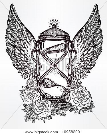 Romantic design of a winged hourglass with roses.