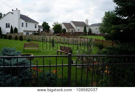 Back Yards of a Tract Home Subdivision