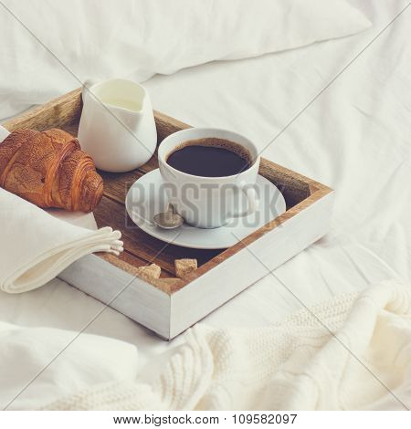 Breakfast In Bed,  Tray With Cup Of Coffee And  Croissant