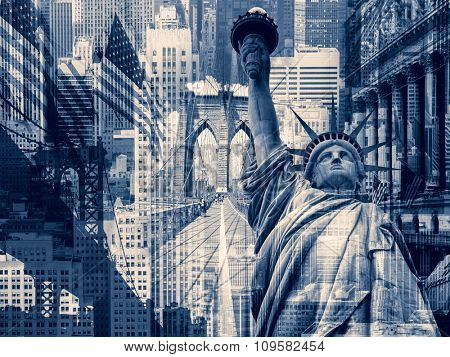 New York City, United States of America - Decorative collage containing several New York landmarks