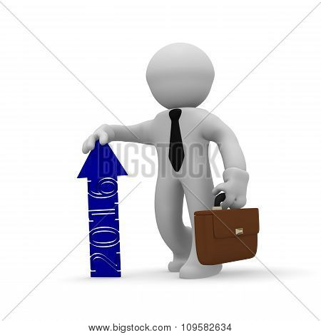 3d rendering of a business character with a blue upswing arrow of 2016