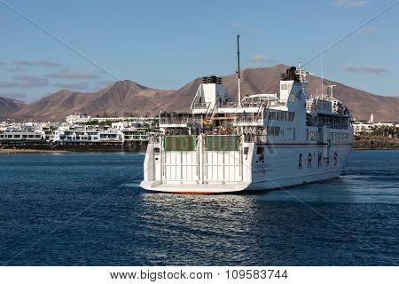LANZAROTE, SPAIN - SEPTEMBER 9, 2015: Canary Island Ferry Sails from Playa Blanca Lanzarote and Corralejo Fuerteventura