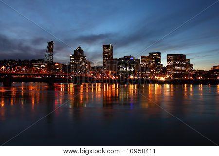 Portland OR at dusk.