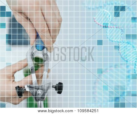science, chemistry, biology, medicine and people concept - close up of scientist hand filling test tubes and making research in clinical laboratory over grid background