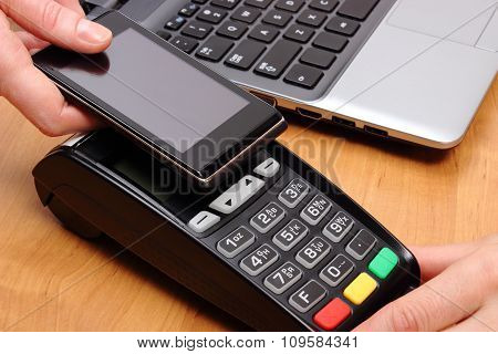 Paying With Mobile Phone With Nfc Technology, Finance Concept