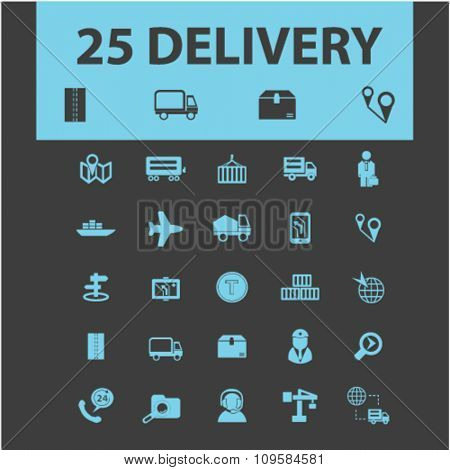 delivery, shipping, logistics  icons, signs vector concept set for infographics, mobile, website, application