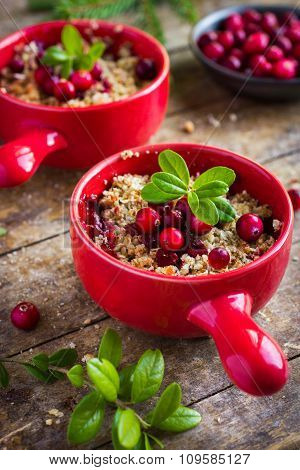 Delicious Cranberry And Oat Flakes Crumble