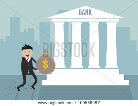 Businessman carry bank into bank.