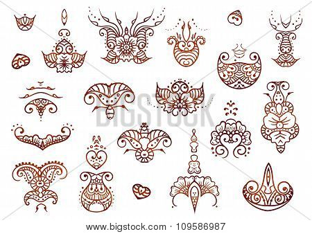 Henna mehndi tattoo doodle brown ornament vector set of elements isolated on white background