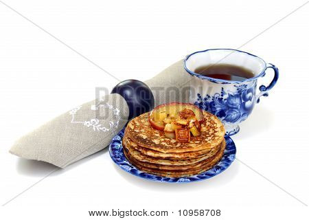 Pancakes With Apple Sauce Isolated On A White Background.