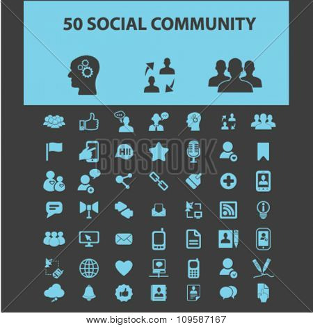 social media, blog, community, user, avatar  icons, signs vector concept set for infographics, mobile, website, application
