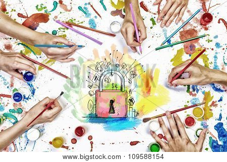 Top view of people hands drawing business solution concept with paints