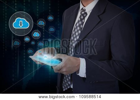 Businessman hand touch screen download from cloud icons on a tablet.