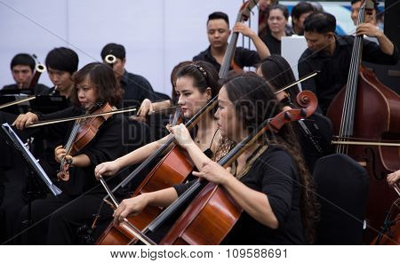 An outdoor live classic concert music by Asian composers