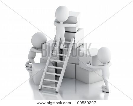 3D White People Climbing Ladders. Teamwork Concept.