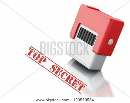 3D Stamp With The Word Top Secret.