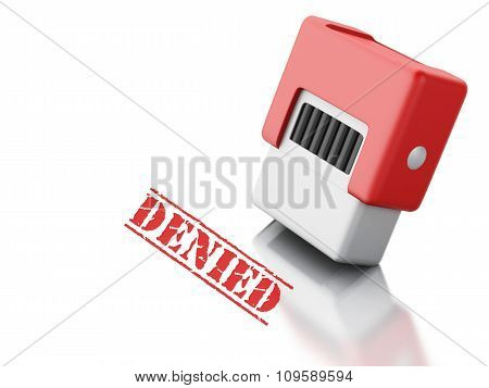 3D Stamp With The Word Denied