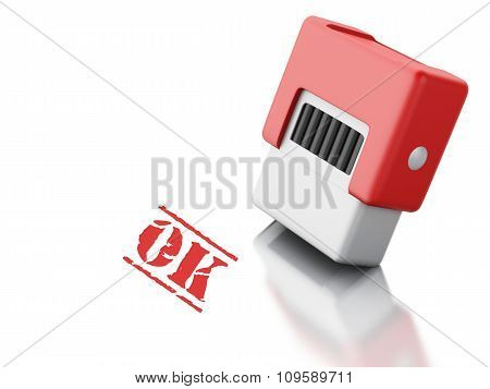 3D Stamp With The Word Ok