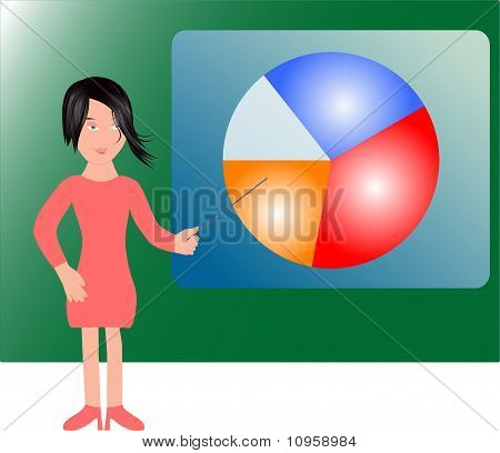 girl and colorful arbitrary chart graph (diagram)