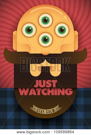 Conceptual poster with four-eyed head. Vector illustration.