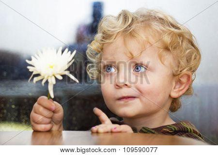 Little Boy With White Flower