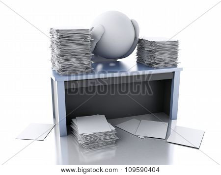 3D White People Overworked With Stack Of Documents.