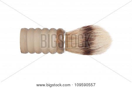 Old Shaving Brush Isolated On White