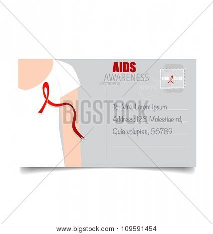Aids Awareness Red heart Ribbon on white background. Vector illustration.