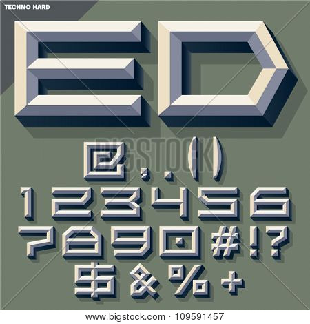 Vector 3D set of old school beveled symbols and numbers in techno style with shadow. Simple colored version.