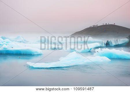 Blue Icebergs In Jokulsarlon Glacial Lagoon.