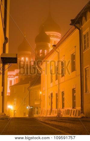 Alexander Nevsky Cathedral Illuminated By Night In Heavy Fog