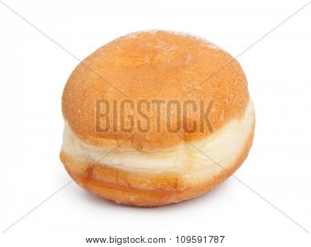 German doughnut berliner with icing sugar isolated on white background