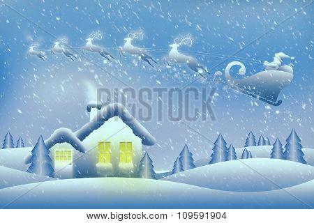 Santa And His Reindeer Fly Over A Cozy House