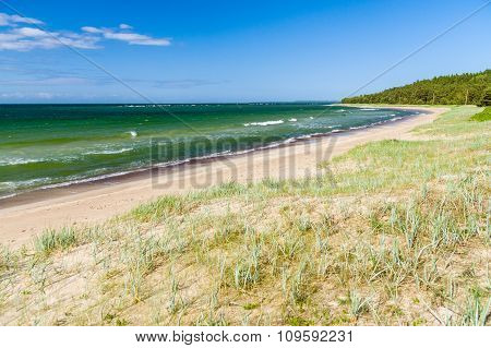 Green Waves Of Baltic Sea And Long Wild Beach