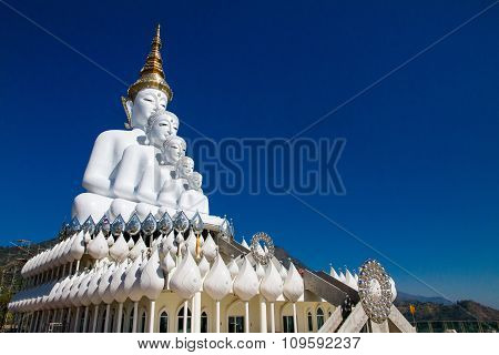 White Big Buddha With Different Sizes In Temple Thailand