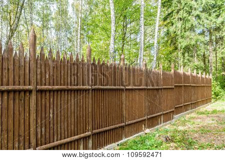 Fence Made Of Vertical Pointed Logs In Woodland