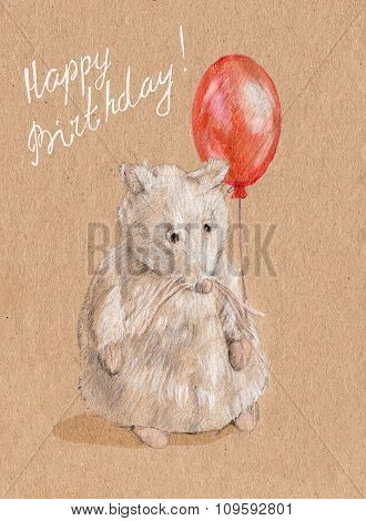 A nice white cat with bright red balloon