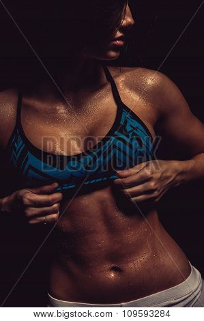 Athletic Girl. Close-up Of A Abs With Drops Of Water