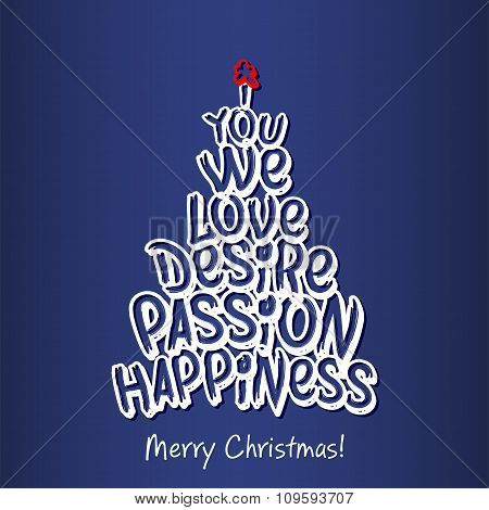 Merry Christmas Happiness Greeting Card. Blue.