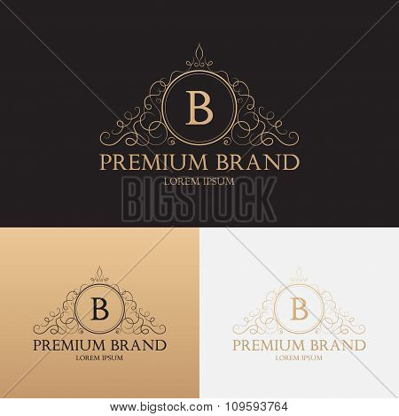 Vector template of logo of premium brand floral ornament
