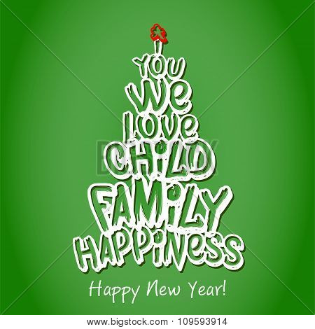 Happy New Year Family Greeting Card. Green