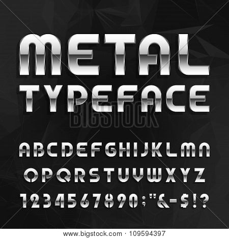 Metal Alphabet Vector Font. Type letters, numbers and symbols.