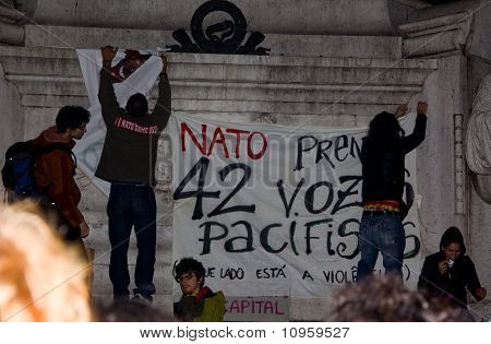 Portugal, Lisbon - November 20, 2010:The protests against NATO, on the day of NATO Summit in Lisbon